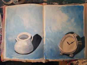 Stills - dish and clock